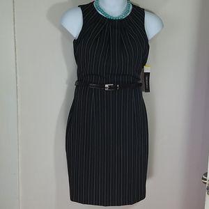 dress midi pinstriped sleeveless pencil belt NEW